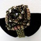 Handmade Beaded Green Rivoli Ring