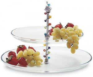 2-Tiered Oval Glass Platter