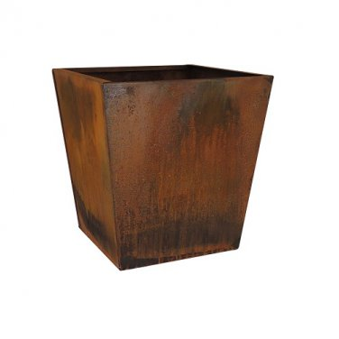 Corten Steel Tapered Square Planter - 16 Inch