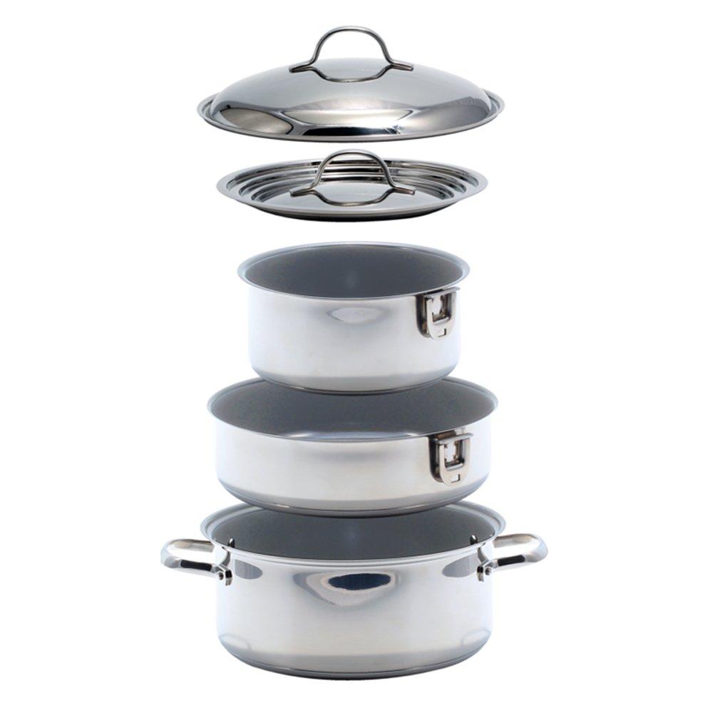 Kuuma 7-Piece Ceramic Nesting Cookware Set 58375 -Stainless Steel w/Non-Stick Coating
