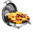 "Kuuma Charcoal Kettle Grill - 175"" Surface - Stainless Steel 58103"