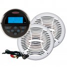 JENSEN CPM100 AM/FM/USB Stereo Package w/MS30 Stereo, AMS602W White Speakers & JPORT Cable