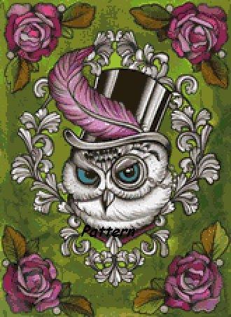 Victorian Owl. Cross Stitch Pattern. PDF Files.