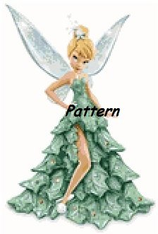 Tinkerbell in Christmas Dress. Cross Stitch Pattern. PDF Files.