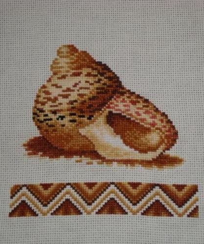 A Cockleshell. Handmade. Beautiful Cross-Stitch Embroidered.