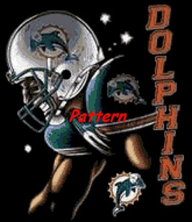 Miami Dolphins Mascot #1. Cross Stitch Pattern. PDF Files.