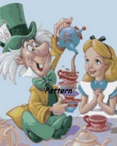 Alice In Wonderland and Mad Hatter. Cross Stitch Pattern. PDF Files.