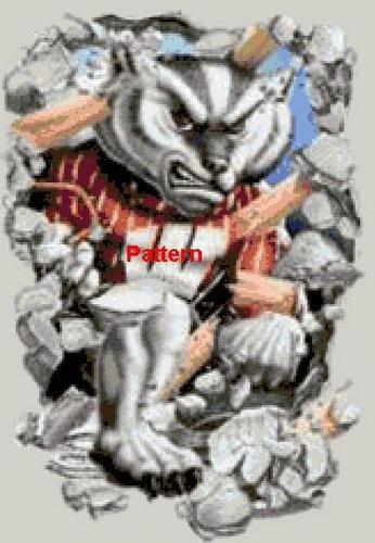Wisconsin Badgers Mascot. Cross Stitch Pattern. PDF Files.