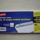 Staples QuickStrip Closure No 10 tamper evident envelopes 20 count 19678 White W