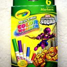 Crayola Mess Free Color Wonder Marvel Superhero Squad 6 Markers Nontoxic NEW won