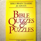 Bible Brain Teasers for Adults BIBLE QUIZZES PUZZLES Cyril Barnes 0824102428 NEW