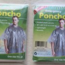 "TWO Coghlan's Emergency Poncho CLEAR One size fits all 50 "" x 80 "" Reusable hood"