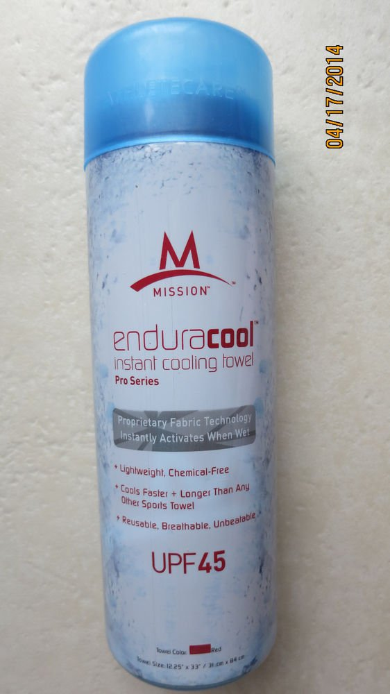 """Mission Enduracool instant cooling towel Pro Series RED 12.25"""" x 33"""" Fabric NEW"""