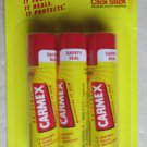 Carmex Moisturizing lip balm CLICK STICK 3 sticks of .15 oz (4.25g) SPF 15 sooth