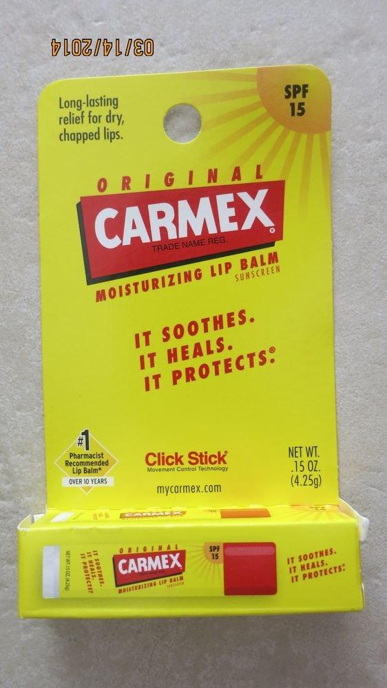 Original Carmex Moisturizing lip balm CLICK CLICK .15 oz (4.25g) sunscreen SPF15