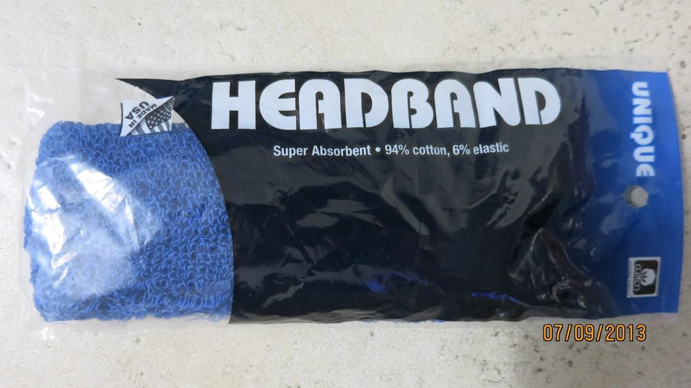 TWO Unique Headbands super absorbant cotton elastic BLUE color tennis sport NEW
