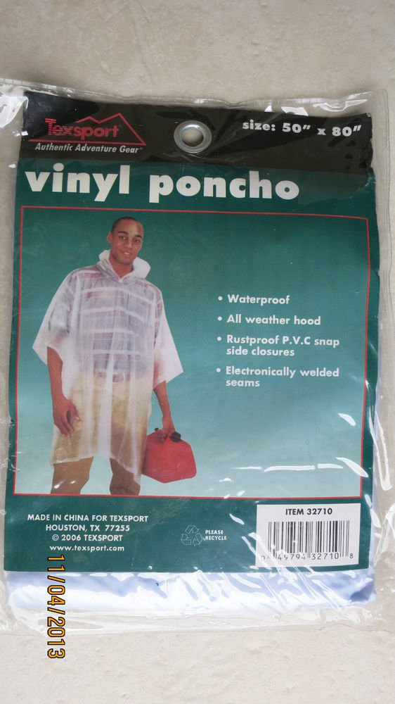 "TWO Texsport Authentic Adventure Gear Vinyl Poncho 32710 light blue 50 "" x 80 """