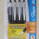 Paper Mate 4 gel ink pens BLACK ink Medium point Smooth lines student study pen