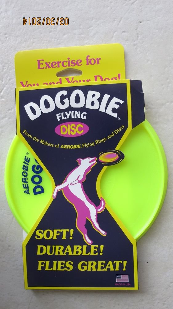 "Dogobie flying disc Excercise for you and your dog A28 YELLOW Aerobie 8"" SOFT NE"