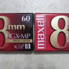 2 tapes of Maxell 8mm Camcorder Videotape metal particle 60 m HGX-MP High grade