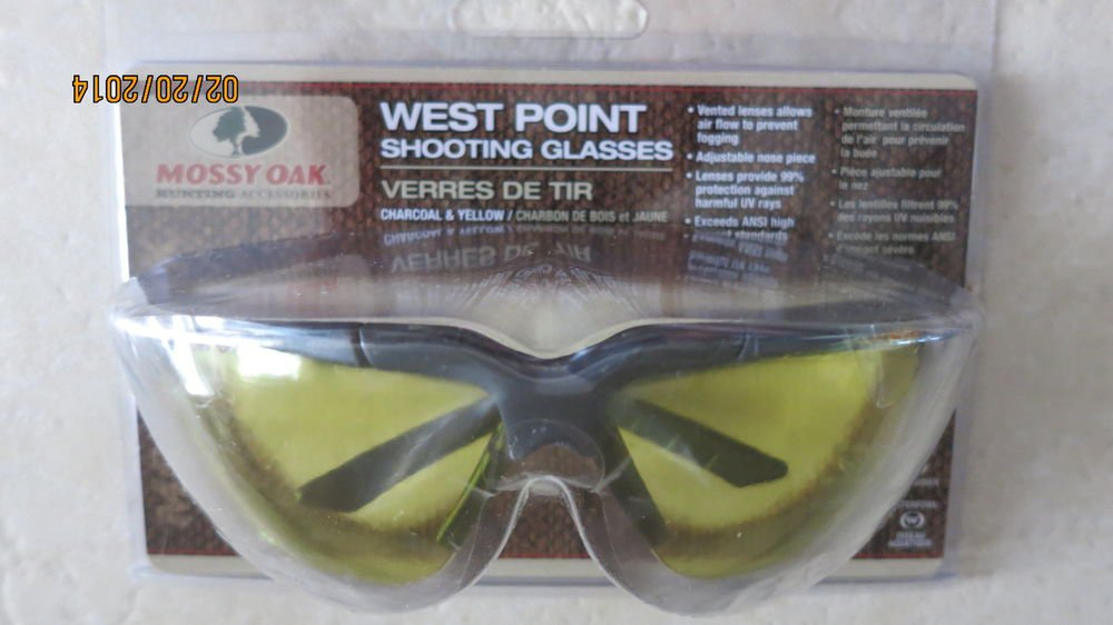 Mossy Oak West point Shooting Glasses MO-WPCY Charcoal & Yellow ANSI standard NE