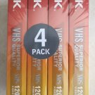 TDK SUPERIOR QUALITY VHS 4 PACK NEW UNOPENED BLANK TAPES T-120 6 hrs video tape