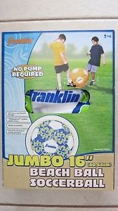 "Franklin JUMBO beach ball Soccerball 16 "" Blue color soccer ball play kids NEW"