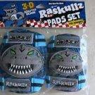 Kids Elbow & Knee Pads set Raskullz 3-D sculpted design ( no GLOVE ) blue protec