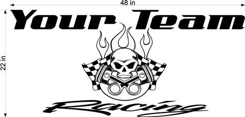 Skull Team Name Racing Enclosed Trailer Vinyl Sticker Decal FREE SHIPPING!