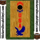 USA Patriotic US Cornhole Board Decals Stickers