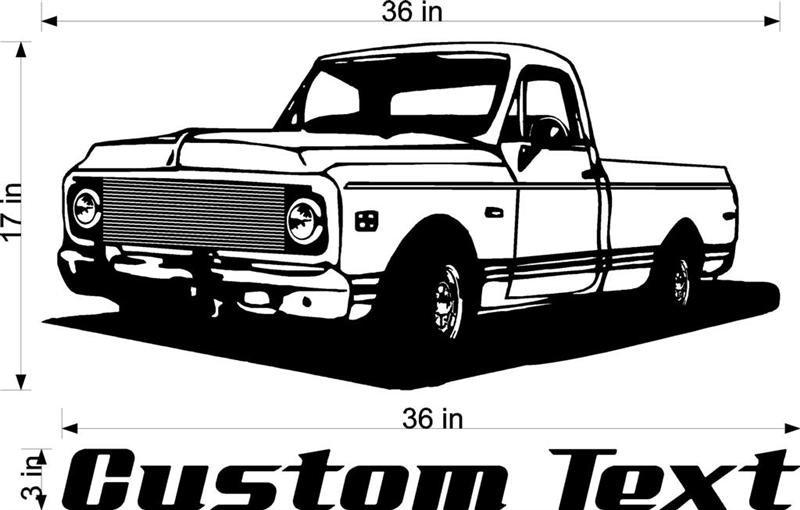 72 Chevy Truck Auto Car Vinyl Wall Art Sticker Decal