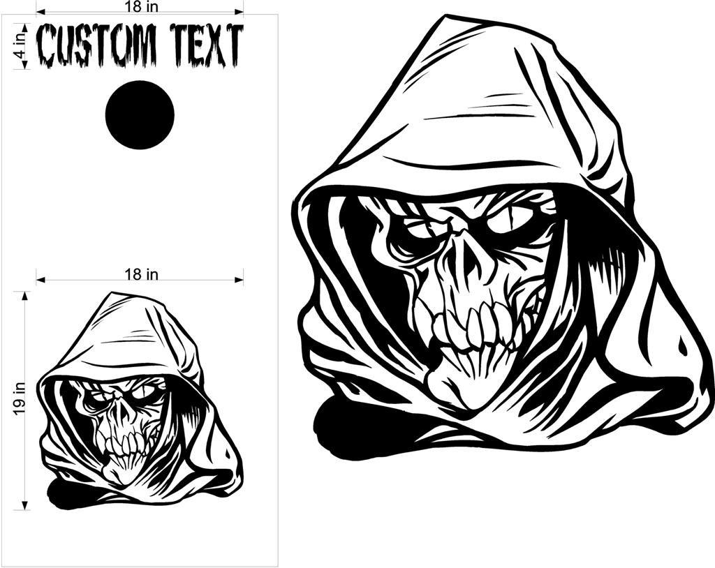 Custom Cornhole Board Decals Stickers Skulls & Jokers 424