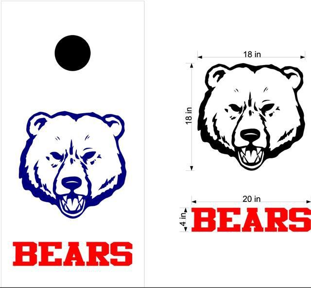 Bears Cornhole Board Decals Stickers Sports Teams Mascots