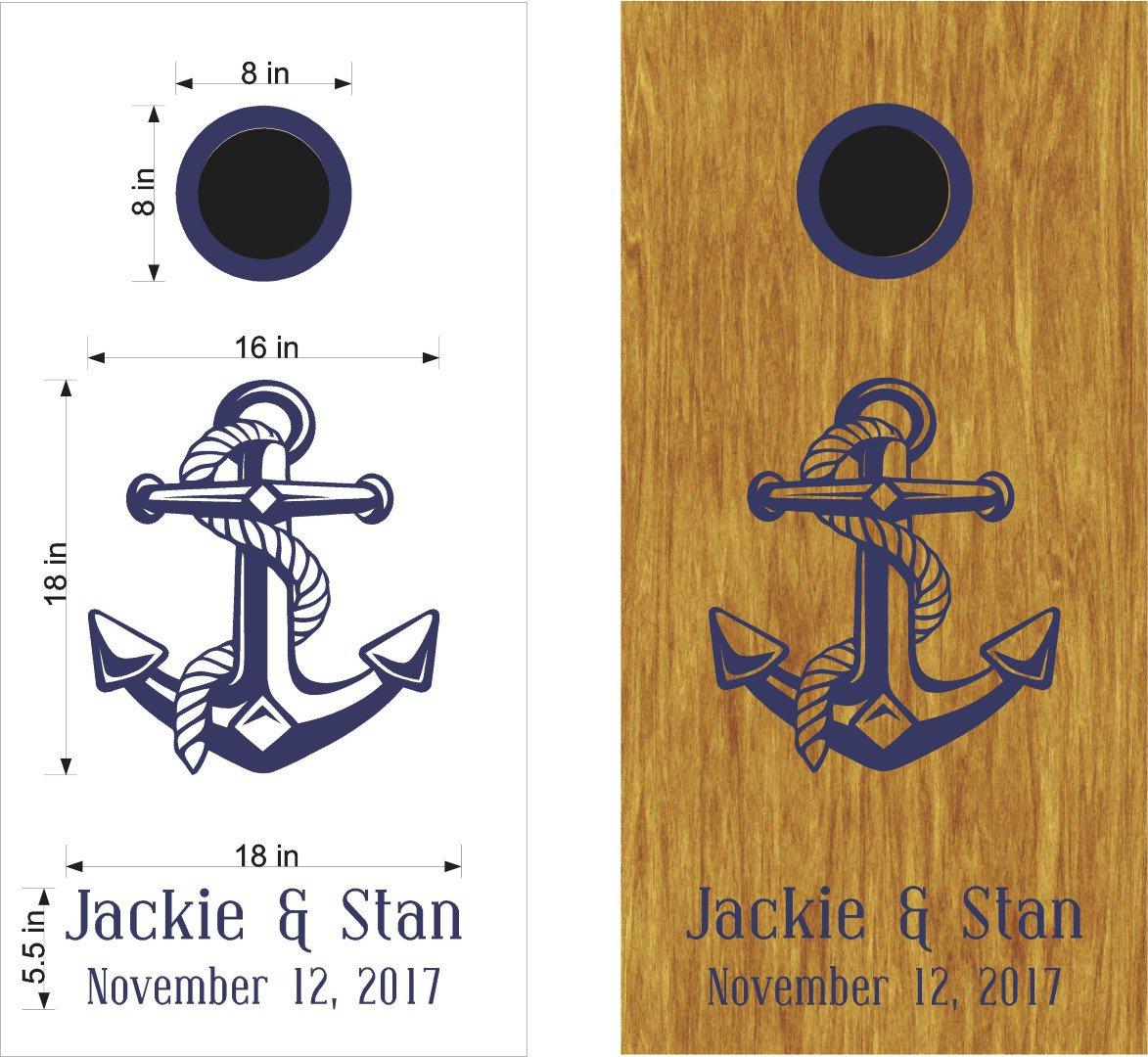 Anchor Wedding Anniversary Cornhole Board Decals Stickers Graphics Wraps