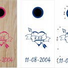 Heart Intials Wedding Anniversary Cornhole Board Decals Stickers Graphics Wraps