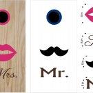 Lips Mustache Wedding Anniversary Cornhole Board Decals Stickers Graphics Wraps