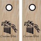 Equestrian Horse Jumping Cornhole Board Decals Stickers Graphics Wraps Bean Bag Toss Baggo
