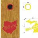 Ohio Michigan Cornhole Board Decals Stickers Graphics Wraps Bean Bag Toss Baggo