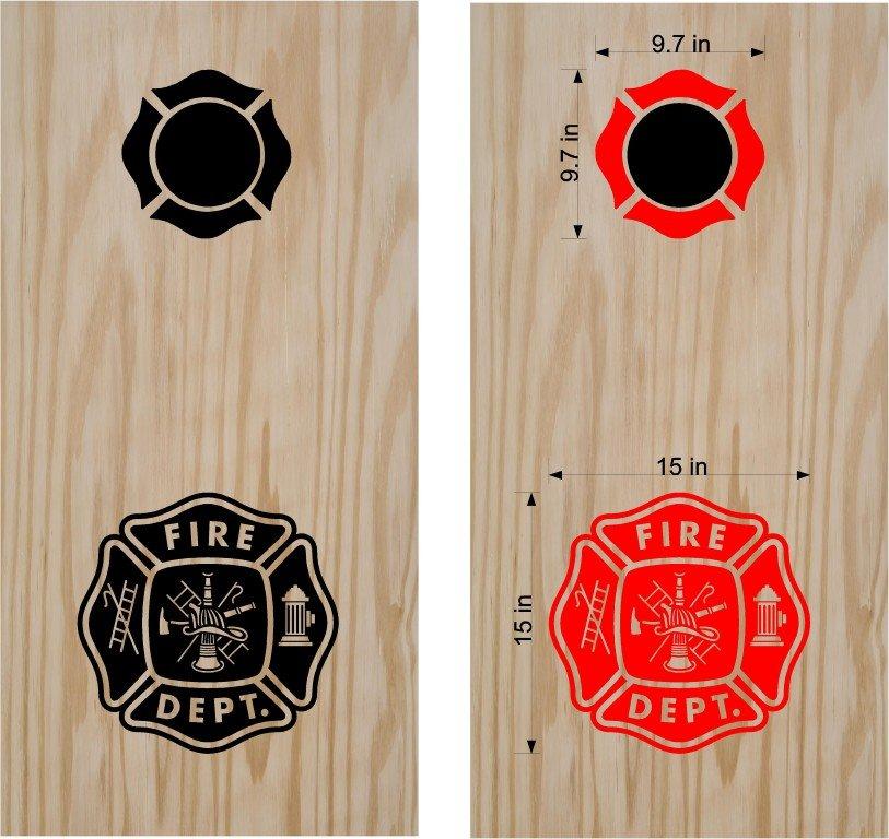 Firemen Firefighter Cornhole Board Decals Stickers Graphics Wraps Bean Bag Toss Baggo