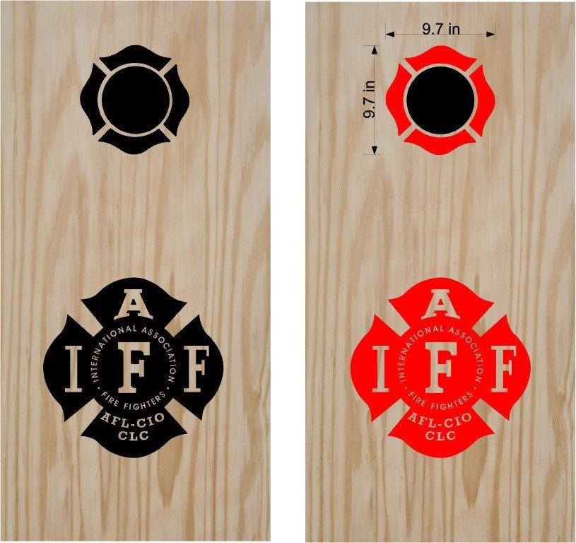 IAFF Firemen Firefighter Cornhole Board Decals Stickers Graphics Wraps Bean Bag Toss Baggo