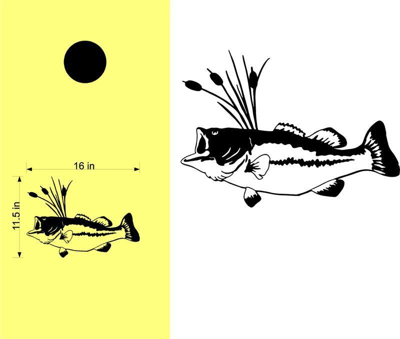Largemouth Bass Fishing Cornhole Board Decals Stickers Graphics Wraps Bean Bag Toss Baggo