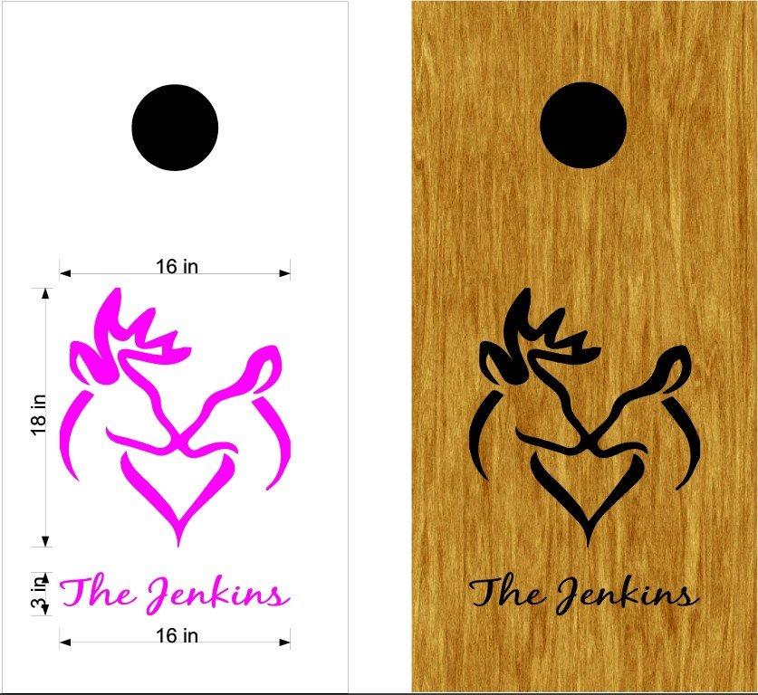Deer Heart Cornhole Board Decals Stickers Graphics Wraps Bean Bag Toss Baggo