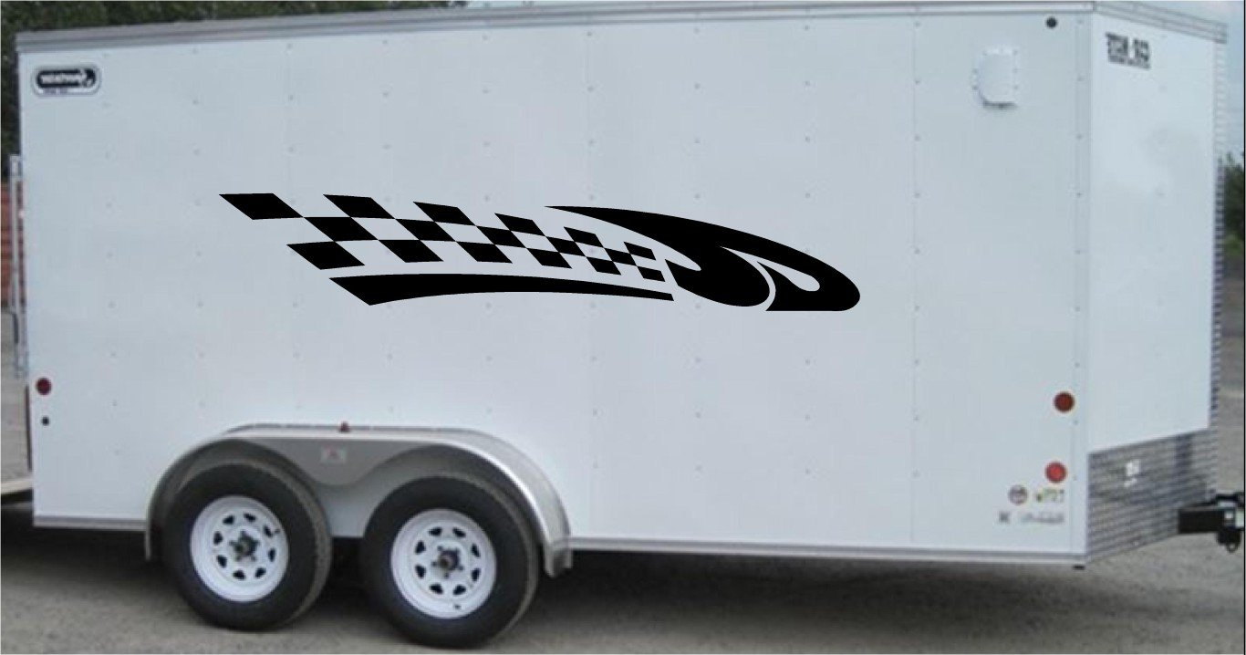 Checkered Flag Auto Truck Side Decal Set Racing Enclosed Trailer Vinyl Sticker Graphics CF009