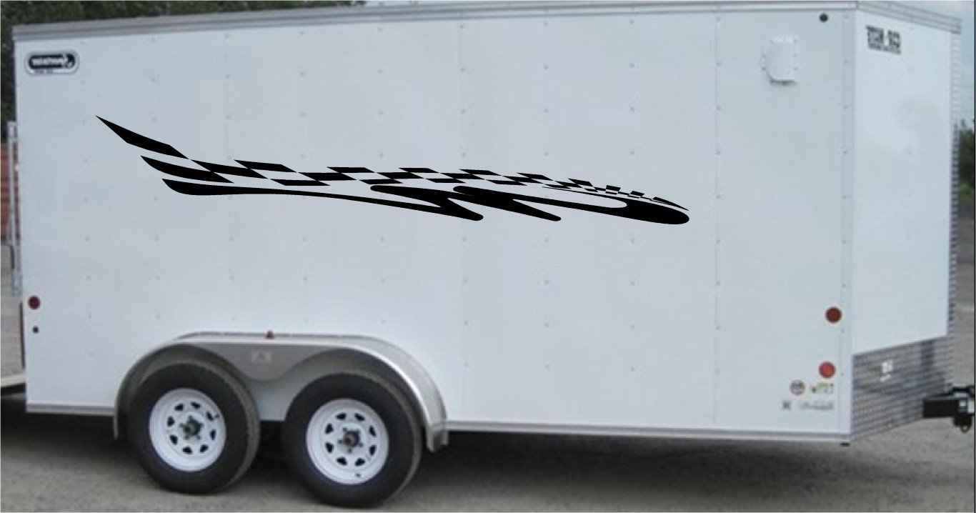 Checkered Flag Auto Truck Side Decal Set Racing Enclosed Trailer Vinyl Sticker Graphics CF022