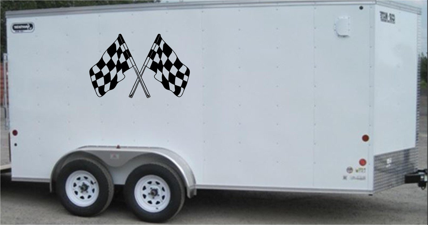 Checkered Flag Team Name Racing Enclosed Trailer Vinyl Stickers Decals Graphics FREE SHIPPING c001