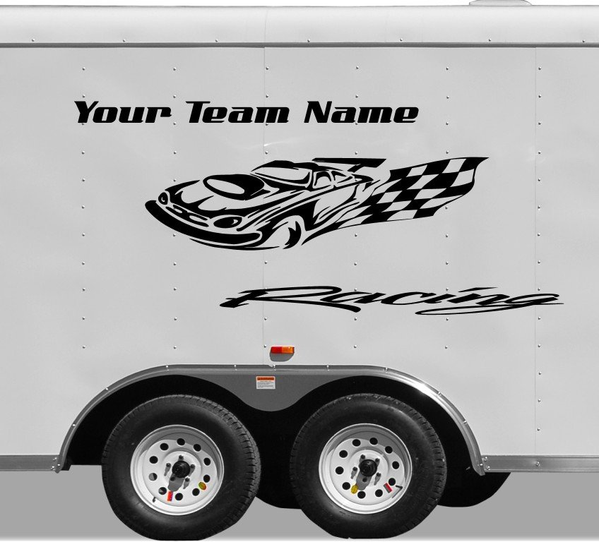 Your Team Name Racing Enclosed Trailer Vinyl Stickers Decals Graphics FREE SHIPPING YT06