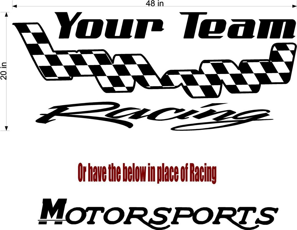 Your Team Name Racing Enclosed Trailer Vinyl Stickers Decals Graphics FREESHIPPING YT06b