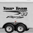Your Team Name Racing Enclosed Trailer Vinyl Stickers Decals Graphics FREE SHIPPING YT104