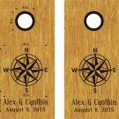 Compass Rose Monogram Wedding Cornhole Board Decals Stickers Graphics Bean Bag Toss