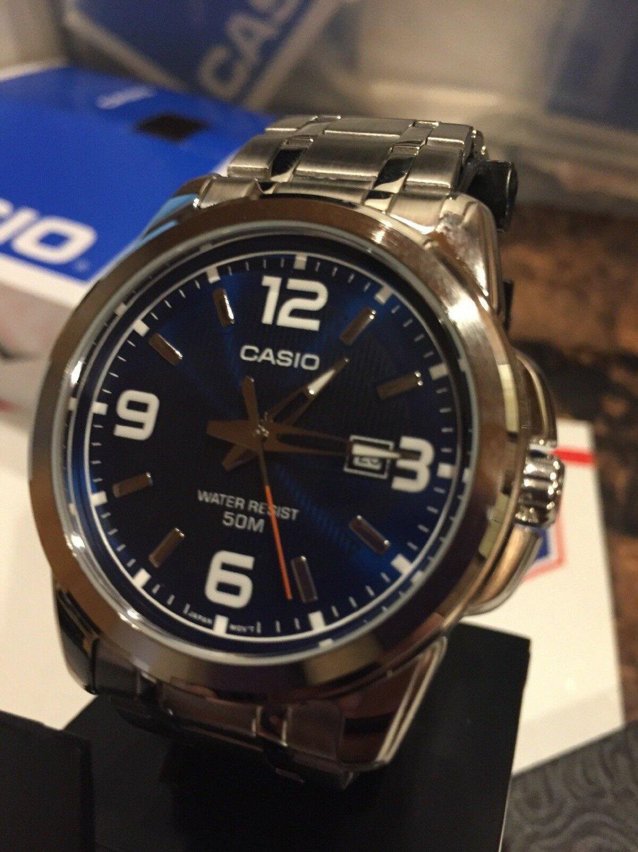 Casio Men's Silver-Toned LARGE  Face Watch w/ Blue Dial MTP1314D-2A